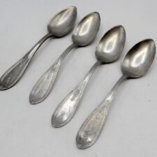 Set of 4 Marked American Pewter Teaspoons