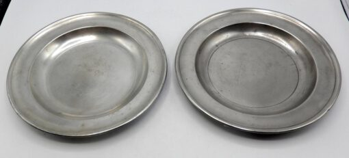 Pair of Marked American Pewter Plates