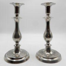 Pair of Engraved American Pewter Candlesticks