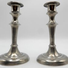 Pair of American Pewter Candlesticks