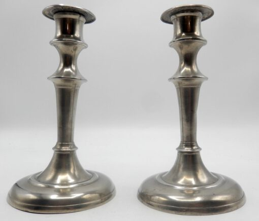 Pair of American Pewter Candlesticks