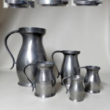 "5 American 18th Century ""A"" Pewter Measures"