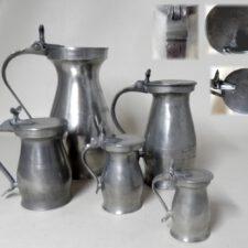 Set of 5 Bud English Pewter Measures
