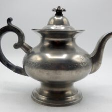 Engraved Pewter Teapot Marked by Eben Smith