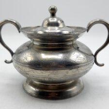 Engraved Pewter Sugar Bowl by Boardman