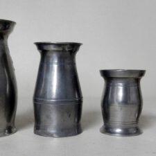 Complete Set of 4 Irish Handleless Pewter Measure