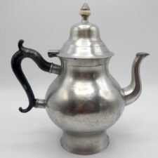 American Transitional Queen Anne Pewter Teapot