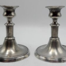 Short Pair of English Pewter Candlesticks