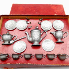Complete Pewter Child's Toy Tea Set in Original Box