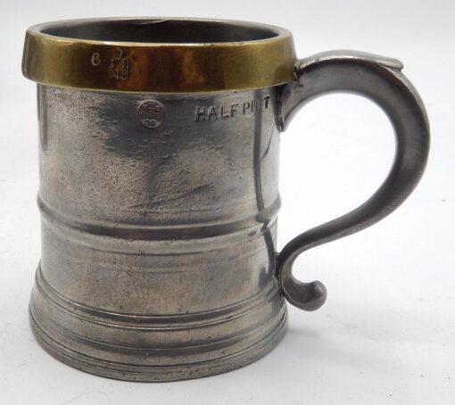 Brass Rim Pewter Mugs