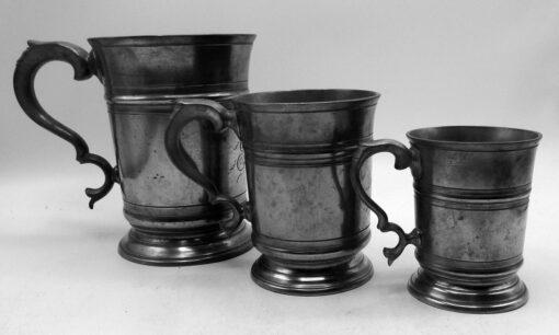 Set of 3 English Pewter Mugs