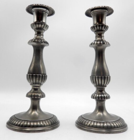 Pewter Gadrooned Candlesticks